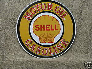 Shell-Motor-Oil-Vintage-Round-Tin-Metal-Sign-Gasoline-NEW-Advertising