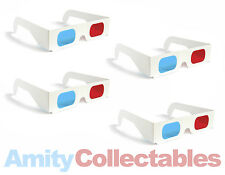4 x 3D GLASSES RED/BLUE (CYAN) ANAGLYPH Retro for 3D, WHITE, Cardboard, 80s