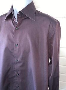 Hugo-Boss-Mens-Button-Up-Shirt-Burgundy-Long-Sleeve-Sz-16-5-42-100-Cotton-EUC