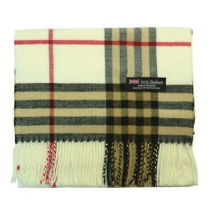 8b473241a Men Women Unisex 100% CASHMERE Scarf Vintage Big Plaid Soft Wool ...