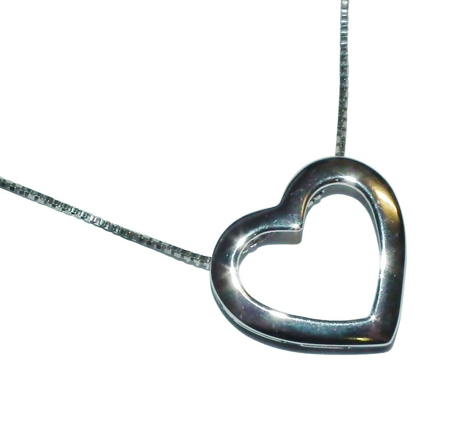 9ct White gold Open Heart Pendant & 20  Chain