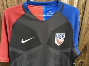 24b3d6ff2 Men s Nike 2016 U.S. Match Away Soccer Jersey Black Blue Red 743672 ...
