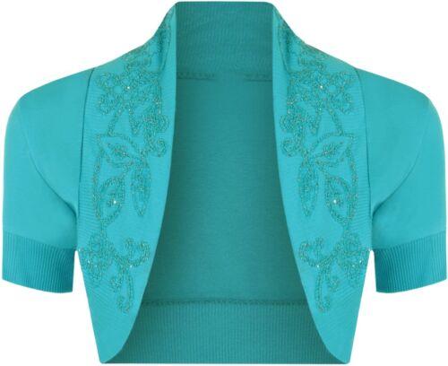 Donna cotone Paillettes Perline Tappo Manica Corta Coprispalle Bolero Cardigan Top