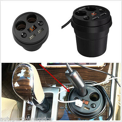 Car Cup Style Dual USB Charger 2 Cigarette Lighter Plugs Car Charger Outlet 12V