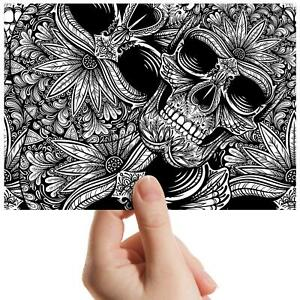 Black-White-Flowery-Skulls-Small-Photograph-6-034-x-4-034-Art-Print-Photo-Gift-8806