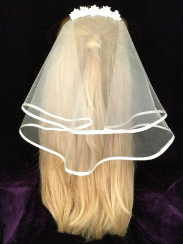 Communion veil white two tier satin bound satin flowers with diamantes