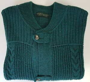 11c98b9b093 Details about Lyle and Scott Mens XL Green Cable Knit Sweater Made in Italy