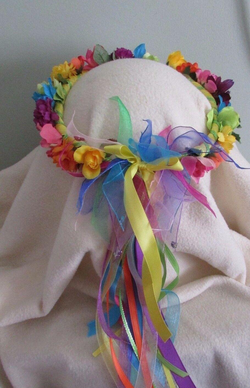 Floral Rainbow Crown Silk Flowers Child Sz Renaissance Flower Girl