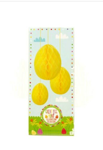 Talking Tables Set Of 3 Honey Comb Decorations Yellow egg shaped birthday//Easter
