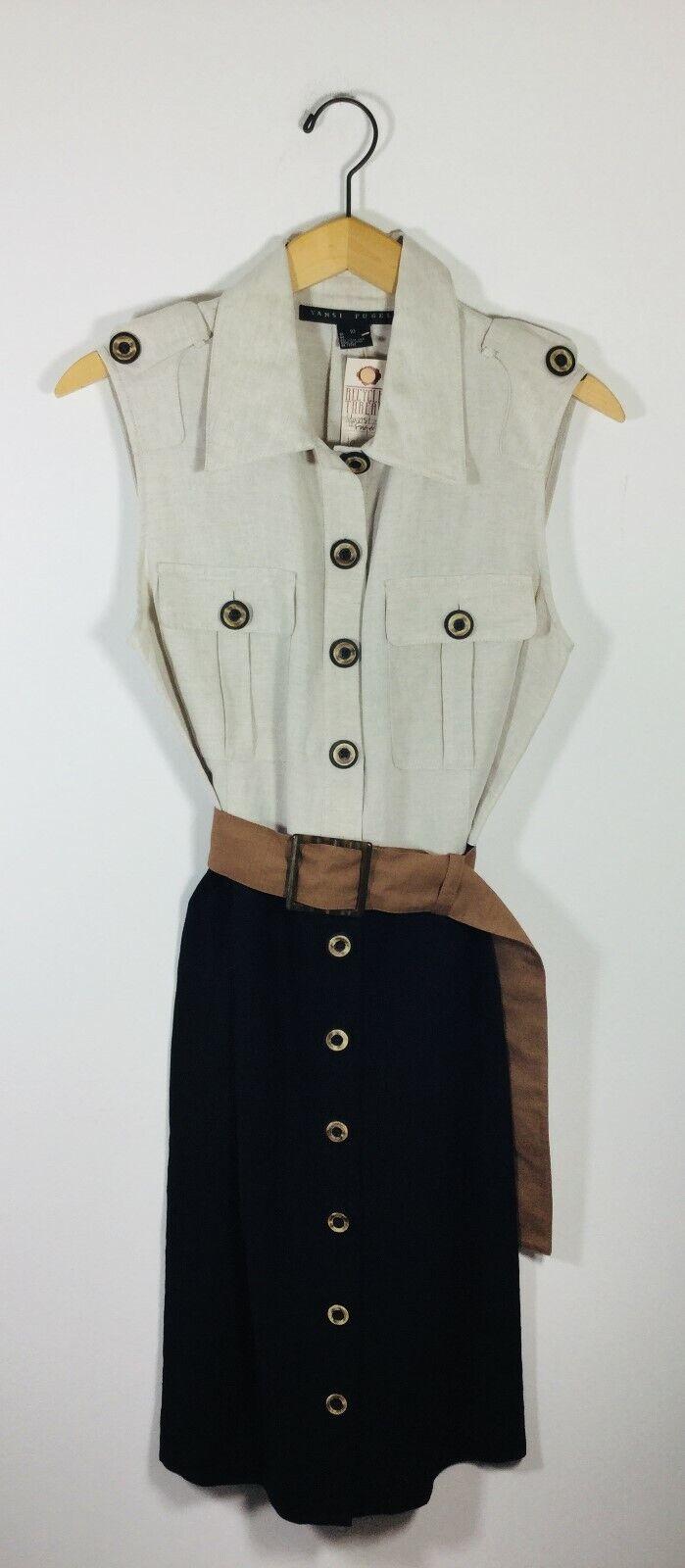 YANSI FUGEL Tan schwarz Sleeveless Linen Shirt Dress Größe 10