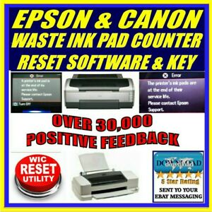 Details about EPSON PRINTERS WASTE INK PAD COUNTER SERVICE ERROR RESET +  WIC KEY FAST DOWNLOAD