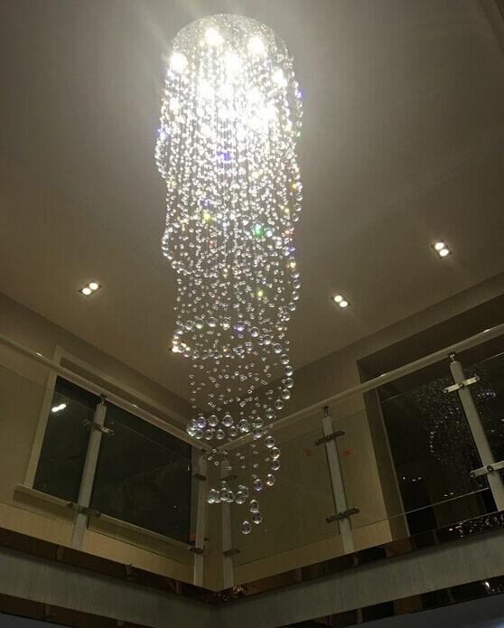 LED Lámpara Colgante Gota De Lluvia Cristal Espiral Escalera Escalera Escalera Luz de Techo Lámpara De Loft 1015a3