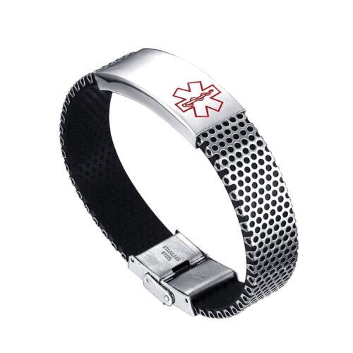 Medical Alert ID Bracelet en acier inoxydable Hommes Femmes Chaîne Bracelet Bangle