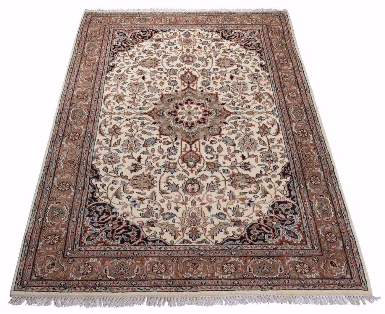 Orient alfombra Indo Tabriz, oriental, 100% lana virgen, con medallón en beige