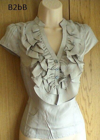 New Karen Millen nude washed silk ruffle blouse shirt top RARE
