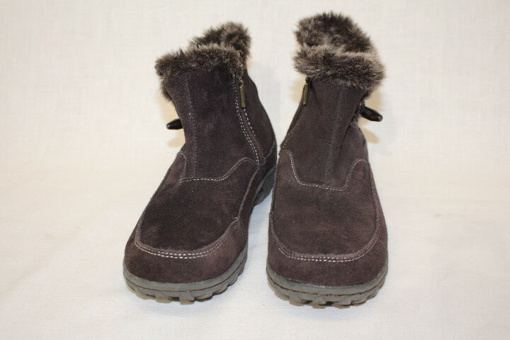 KHOMBU  Gracie  Brown Faux Fur & Suede Ankle Booties Womens Size 6M-B85