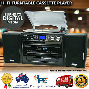 Stereo-System-Turntable-Vinyl-Record-Player-w-Dual-Cassette-Recorder-USB-CD-MP3