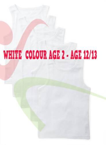 Boys Girls 100/% Cotton Plain Sleeveless White Vest Tank Top Regular Under Wear