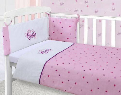 Little Princess Pink Baby Nursery Bedding Set Cot Quilt Bumper /& Sheet 3 Piece
