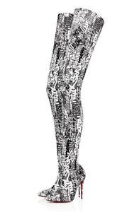 5d3bcea7704 Christian Louboutin Gravitissima 100 Black White Thigh High OTK Heel ...