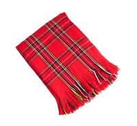 Woven Checkered Red Throw Blanket With Fringes, 50x60,