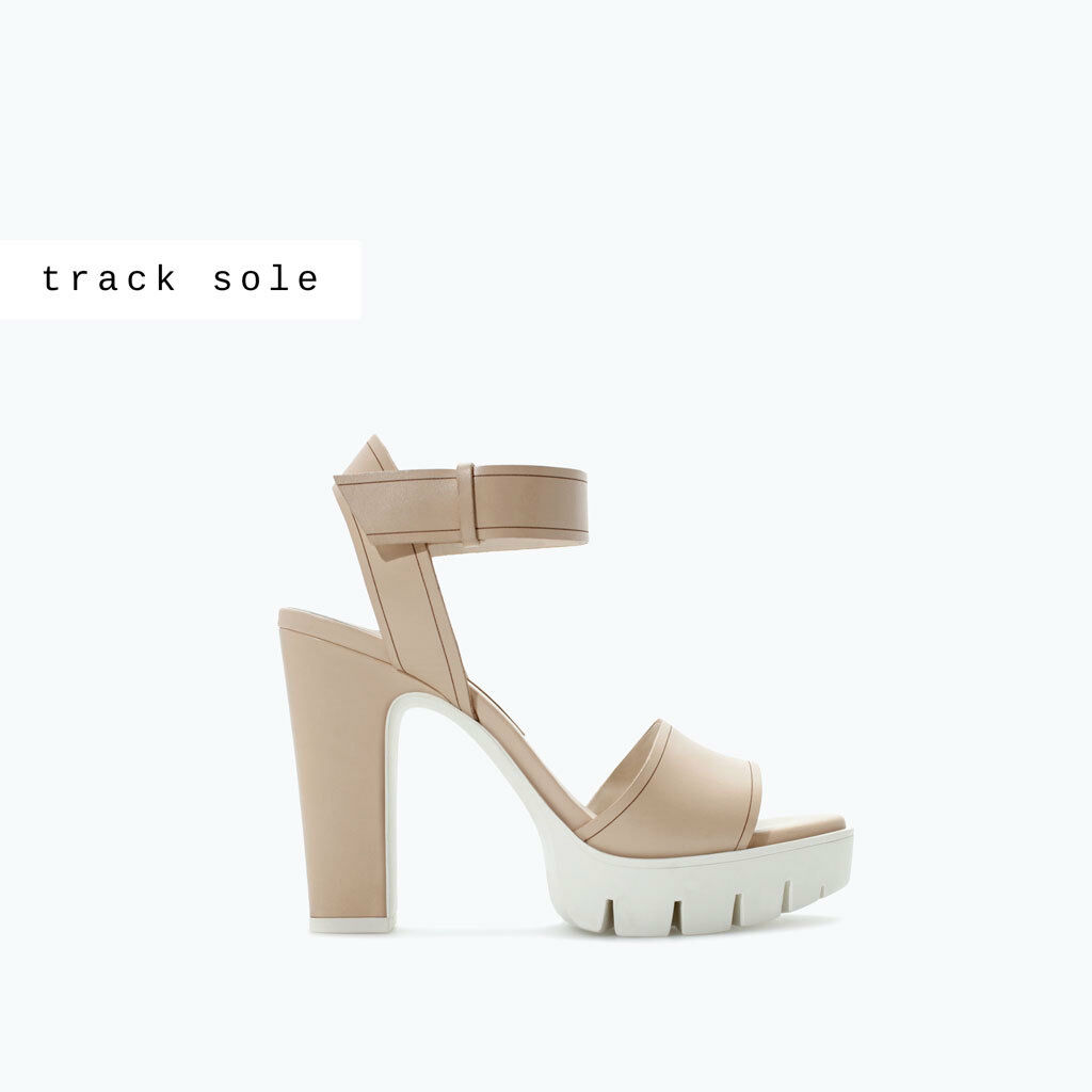 ZARA ECRU TRACK SOLE SANDALS BLOCK HEEL Schuhe UK SIZES 7 & 8 LAST SIZES