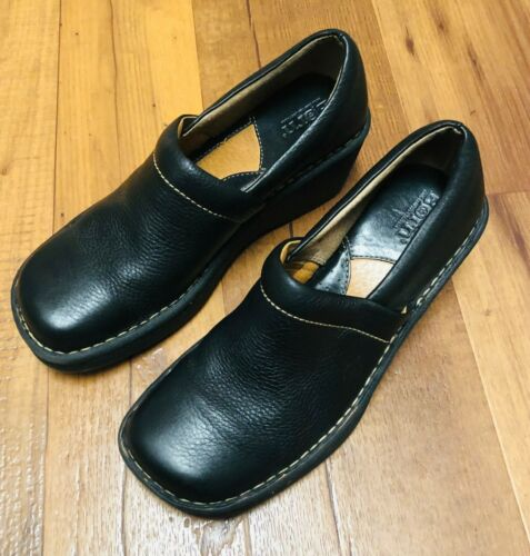 Born Womens Black Leather Mules  Slip On Wedge Heel Clog Loafers Shoes Size 7
