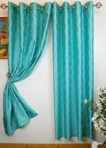 """Luxury Embroidered Faux Silk Curtain Panel With Metal Grommet 55/"""" X 84/"""" Hudson"""