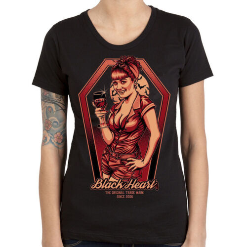 Ladies-Black Heart-Rockabilly-Greaser-Psychobilly-Biker-Bloody Bitch-T Shirt !!