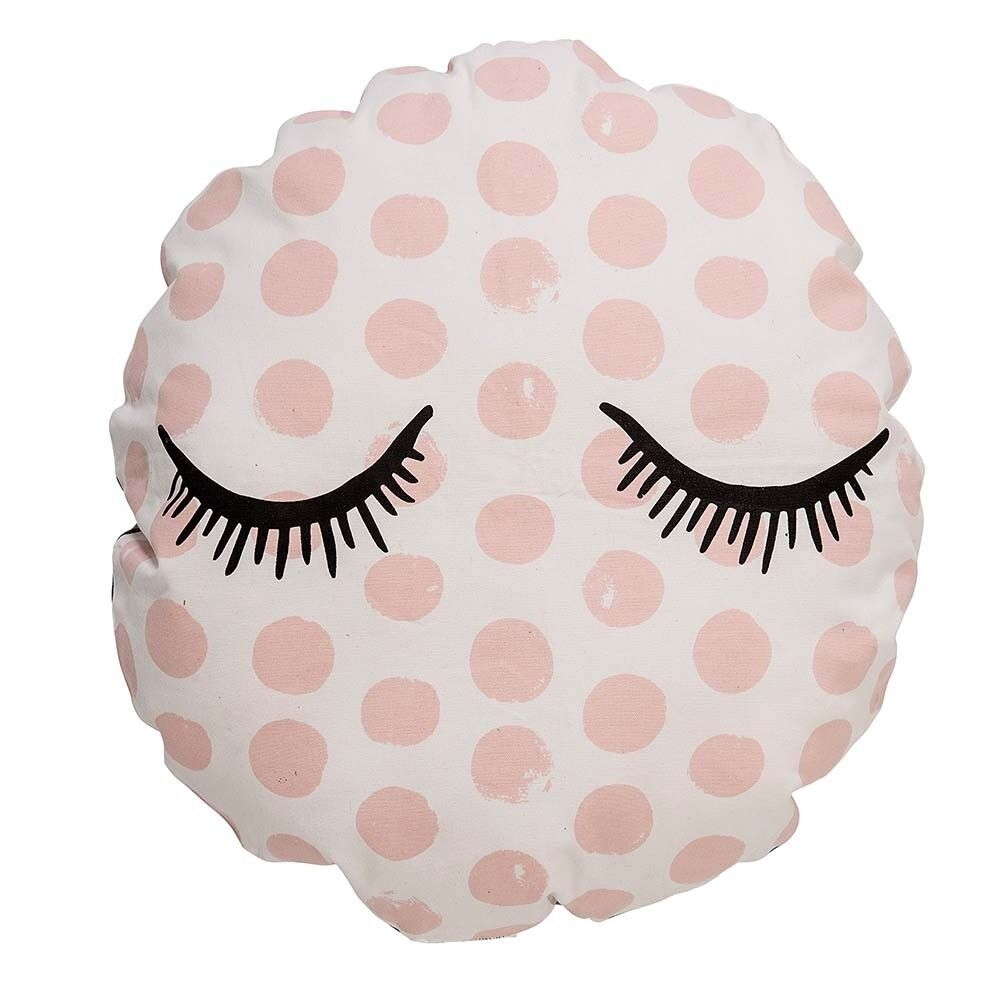 Bloomingville Coussin environ CLOSED EYES pointillés rosé