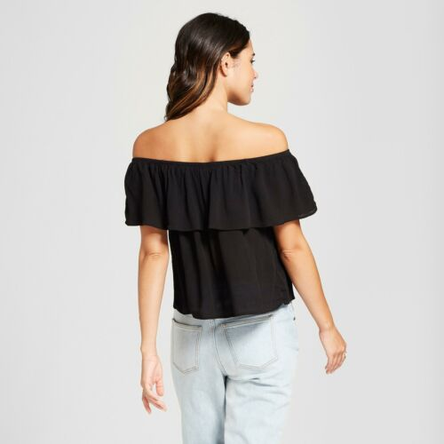 NWT Xhilaration™ Women/'s Short Sleeve Off the Shoulder Flounce Embroidered Top