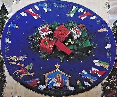 "Bucilla ""NATIVITY"" Felt Holy Christmas Tree Skirt Kit RARE ..."