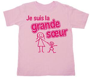 French-Sister-T-Shirt-034-Je-Suis-la-Grande-Soeur-034-I-039-m-Big-Sister-France-Gift