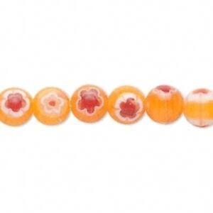 1-Strand-Light-Orange-Red-amp-White-Millefiori-Glass-8mm-Round-Beads
