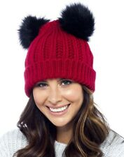 77ea82b3a1c Foxbury Ladies Chunky Rib Knit Hat With 2 Faux Fur Bobbles Black for ...