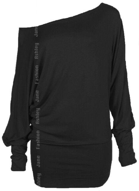Womens Long Sleeve Batwing Top Off Shoulder Plain Tunic T Shirt Top 8-14