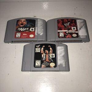 Nintendo-64-3-Game-Wrestling-Lot-Tested-WCW-NWO-WWF-ECW-Mayhem-Attitude-N64-Fun
