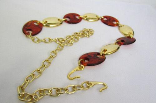 Women Gold Metal Oval Plate Chain Brown Plastic Bar Fashion Belt Hip Waist S M L