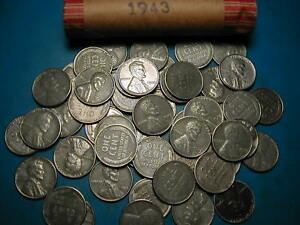 50 COINS 1943-P LINCOLN STEEL WHEAT CENT PENNY ROLL