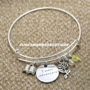 Beauty And The Beast Belle I Want Adventure Charms Bangle Bracelet