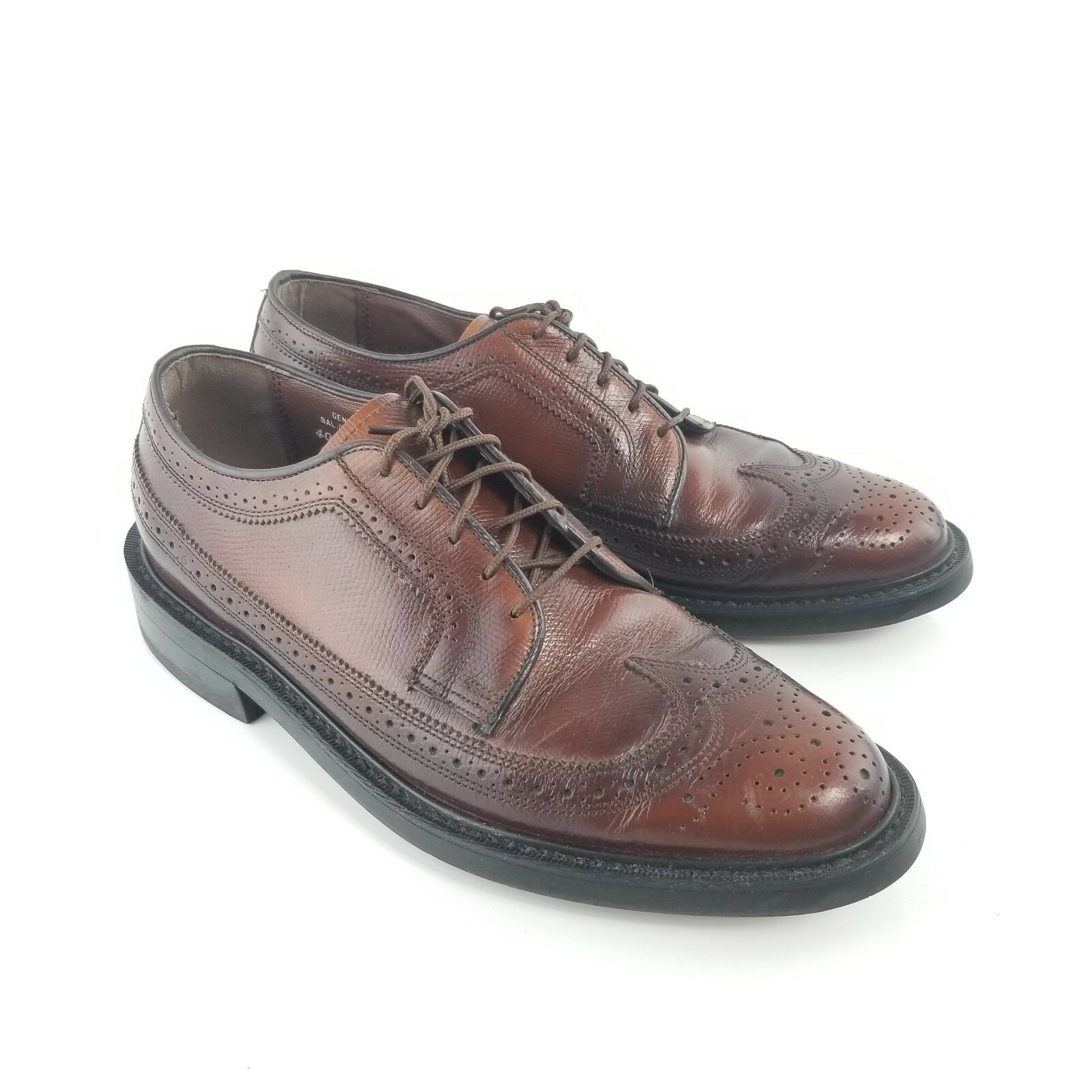Vintage Thom McAn Leather Wing Tip Oxford Brown Dress shoes Made In USA Size 8.5