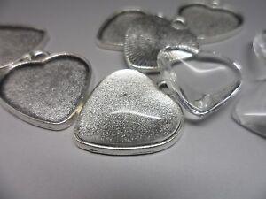 10-Plain-Antique-Silver-Heart-Bezel-Pendant-Kit-settings-amp-Cabochons-tray-20-mm