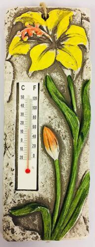 Jaune Fleur Suspendu Rustique Extérieur Thermomètre