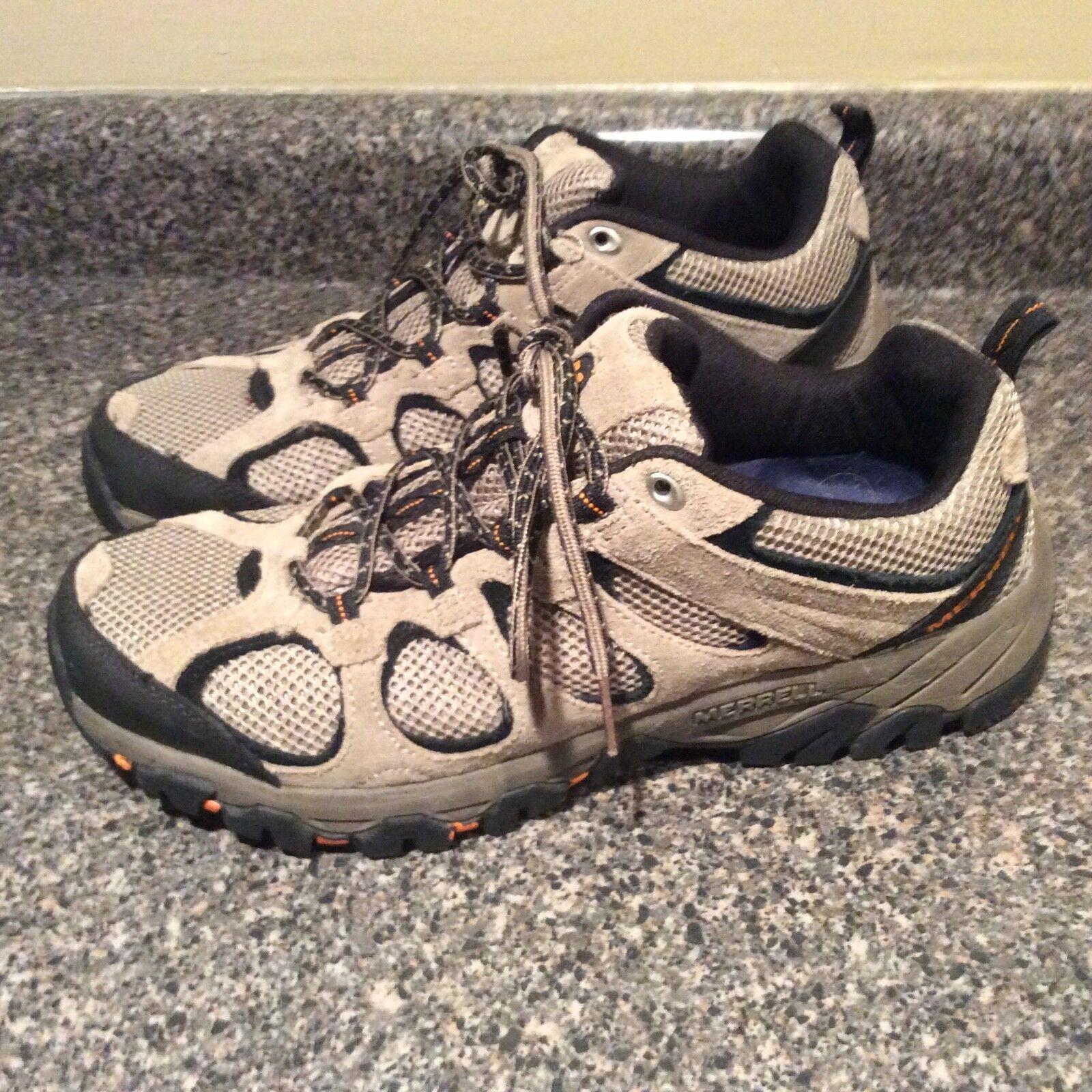 MERRELL Men's SZ 10 Hiking Boots Hilltop Ventilator Mid WP Hiker Brindle EUC