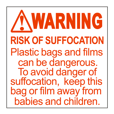 1000 Pre-Cut Labels 2 x 2 Suffocation Warning FBA approved Labels//Stickers