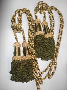 2 Anciennes Embrases De Rideaux Avec Pompons Passementerie +crochets Fixations Jouir D'Une RéPutation éLevéE Chez Soi Et à L'éTranger