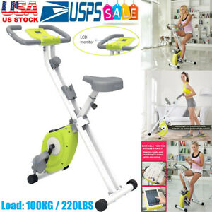 Exerpeutic Folding Magnetic Upright Exercise Bike Pulse Compact Indoor Gym US