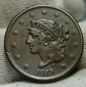 1839-Penny-Coronet-Large-Cent-1C-Booby-Head-Nice-Coin-Free-Shipping-9015