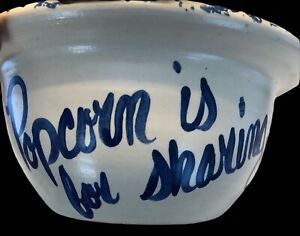 11-VINTAGE-STONEWARE-POTTERY-POPCORN-IS-FOR-SHARING-BOWL-THATS-ALL-FOLKS