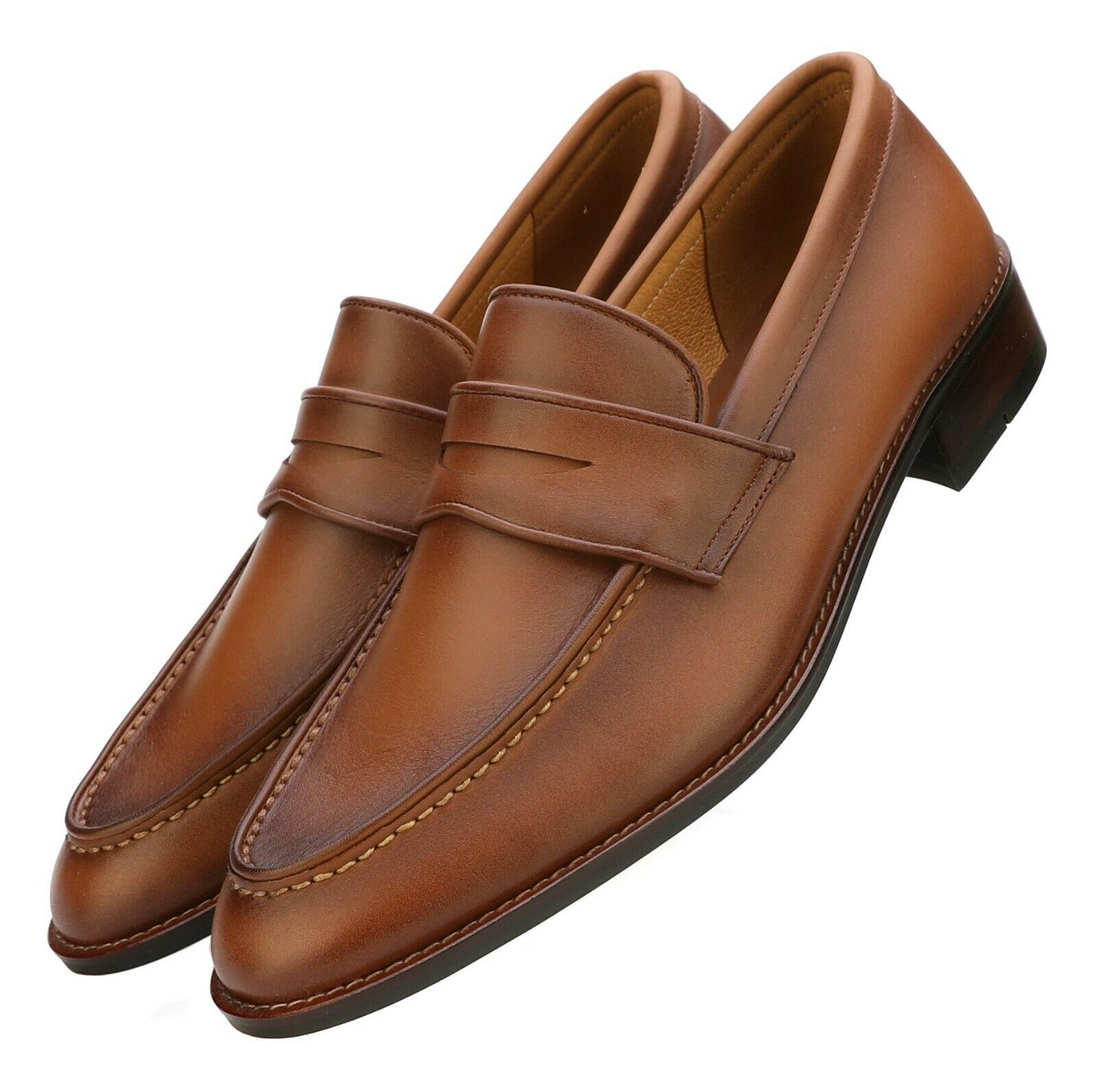 in linea Firenze Firenze Firenze Atelier Uomo Handmade Oil Marrone Full Grain Leather Penny Loafers  risparmia il 35% - 70% di sconto